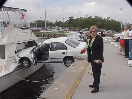 car on boat