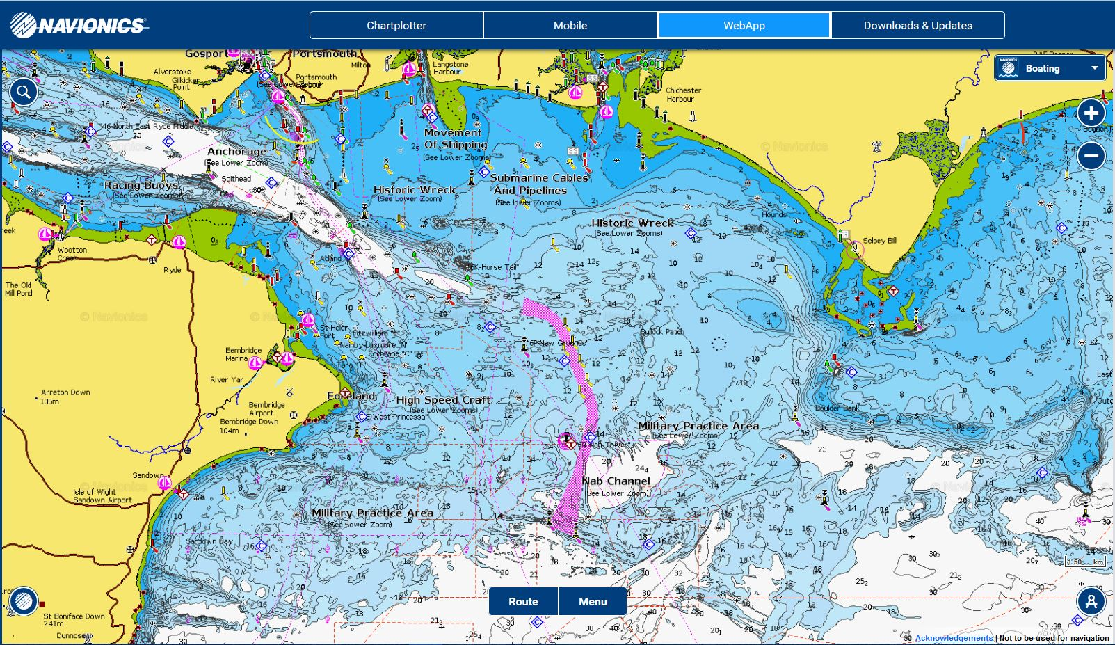 Eastern solent chart boat angling for Navionics fishing app