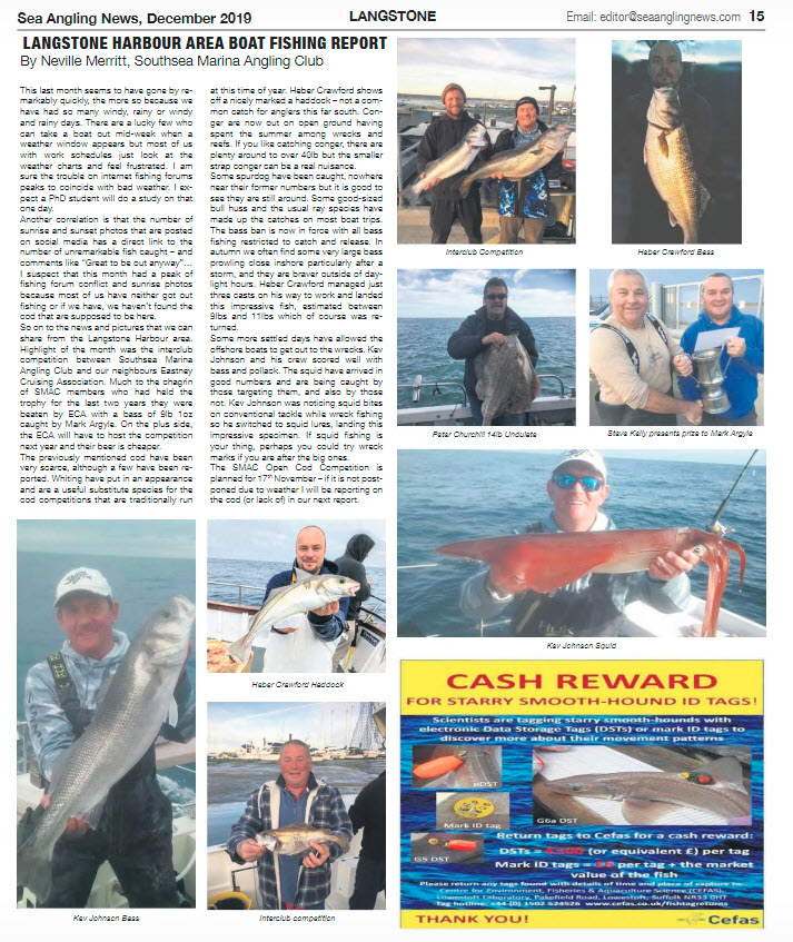 Lanstone Boat Angling Report November 2019 Sea Angling News